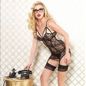 NWT Leg Avenue Vixen Lace Cage Strap Garter Dress